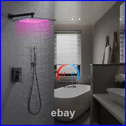 10 inch LED Rain Shower Combo Set Wall Mounted Shower Faucet WithHandheld Shower