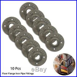 10Pcs 3/4 Malleable Threaded Floor Flange Iron Pipe Fittings Wall Mount Black