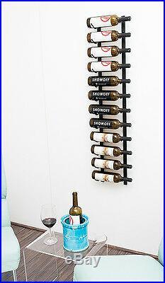 12 Bottle VintageView Metal Wall Mounting Wine Rack. Satin Black Finish