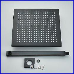 12'' Matte Black Rain Shower Combo Kit Set Wall Mount LED Shower Head System Tap
