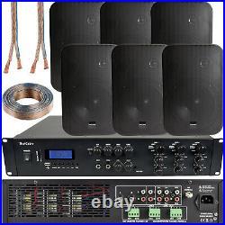 1200W Bluetooth Sound System 6x 200W Black Wall Speaker6 Zone Matrix Amplifier