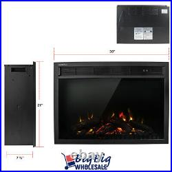 1400W 30 Wall Mounted Electric Fireplace Insert Heater Adjustable Flame Remote