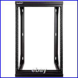 15U Wall Mount IT Open Frame 19 Network Rack with Swing Out Hinged Gate Black
