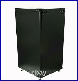 15U Wall Mount Network Server Cabinet Enclosure Glass Door Lock 22.75 Depth