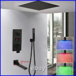 16 Black Bathroom LED Shower Set 3-Ways Wall Mount Mixer Digital Valve Faucet