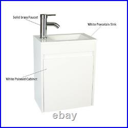 16 Wall Mount Bathroom Vanity Gray Single With Ceramic Sink Faucet Drain Combo