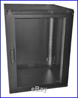 19 Inch 18U 600mm Deep Wall Mount Network Cabinet Rack, Glass Door withlock, Black