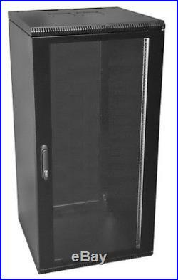 19 Inch 24U 500mm Deep Wall Mount Network Cabinet Rack, Glass Door withlock, Black