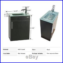 19 Small Bathroom Vanity Eclife Wall Mount Glass Sink Faucet Drain Combo P Trap