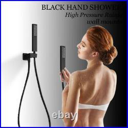 20 Black Rainfall Shower Faucet Set Squre Shower Head Mixer 6 Massage Jets Tap