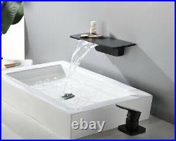2020 NEW Brass Black Bathroom Sink Waterfall Faucet Storage Rack Basin Mixer Tap