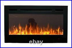 2021 36 Inch Wide Led Flames Black Glass Truflame Wall Mounted Electric Fire