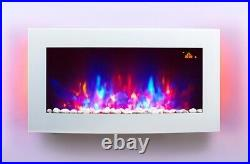 2021 Led Flames 7 Colour White Glass Truflame Curved Wall Mounted Electric Fire