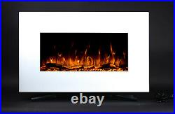 2021 Led Flames 7 Colour White Glass Truflame Flat Wall Mounted Electric Fire