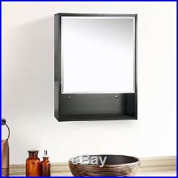 22 Medicine Cabinet Bathroom Black Wood Adjustable Shelf Mirror Wall Mount