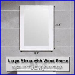 24 Wall Mount Bathroom Vanity Floating Sink Cabinet + Mirror & Faucet Single