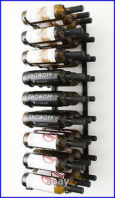 27 Bottle VintageView Metal Wall Mounting Wine Rack. Satin Black Finish