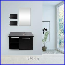 28'' Bathroom Vanity Solid Cabinet Floating Wall Mount Mirror Wood Top Shelf Set