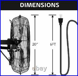 2Pack Simple Deluxe 20 Inch High Velocity 3-Speed Industrial Wall-Mount Fan