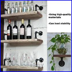 2Pc Industrial Black Iron Pipe Shelf Bracket Wall Mounted Floating Shelf Honder