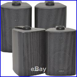 2x Pair 2 Way Compact Stereo Speakers 3 60W 8Ohm- Black Wall Mounted Surround