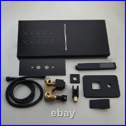 3 Way Black Rectangle Rain Shower Head Hot Cold Mixer Valve Faucet Set Hand Tap