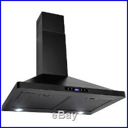 30 Black Finish Stainless Steel Wall Mount Range Hood Touch Panel Mesh Vent