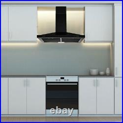 30 Inch Kitchen Range Hood Wall Mount 350 CFM Vent Mechanical Control Black New