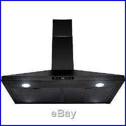 30 Wall Mount Black Finish Stainless Steel Touch Panel Kitchen Range Hood Fan