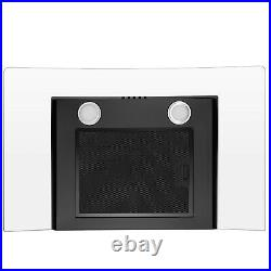 30 Wall Mount Range Hood with Tempered Glass in Black Painted Stainless Steel