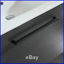 32 Single Bathroom Vanity Black Wood Cabinet with Sink & Mirror Combo Wall Mount