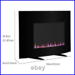35 Electric Fireplace Wall Mount Freestanding Heater Multicolor Crystal Flames