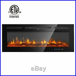 36''/40''/50''/60''Large 1500W Electric Fireplace Wall Mount Heater Adjustable