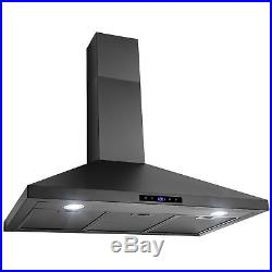 36 Black Finish Stainless Steel Wall Mount Range Hood Touch Panel Timer Vent