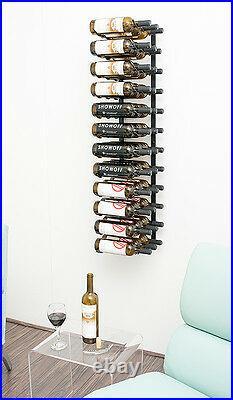 36 Bottle VintageView Metal Wall Mounting Wine Rack. Satin Black Finish