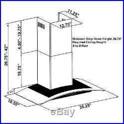36 Wall Mount BLACK Finish Stainless Steel Range Hood Timer Clock Stove Vent