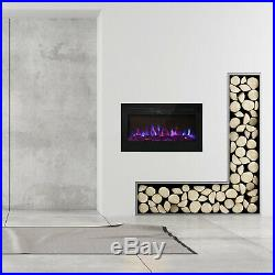 36 x 21.5 Wall Mount Electric Fireplace Heater Multi-Color LED Flame with RC