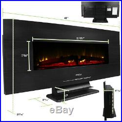 42 1400W Heat Wall Mount or Standing Electric Fireplace withRemote MultiColor LED