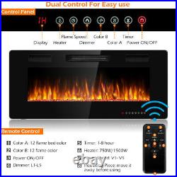 42 Wall Mounted Heater Electric Fireplace Recessed Ultra Thin Multicolor Flame