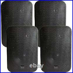 4x 6.5 200W Moisture Resistant Stereo Loud Speakers 8Ohm Black Wall Mounted