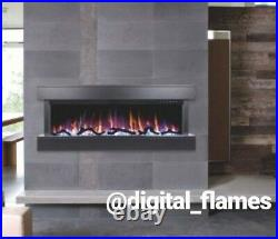 50 Inch Led Digital Flames Black Mantel 3 Sided Glass Wall Mounted Electric Fire