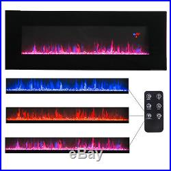 50 Wall Mount Electric Fireplace Heater Multicolor 3D Crystal Flame Sleep Mode