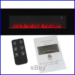 50 in. Wall-Mount Changeable Color Electric Fireplace in Black