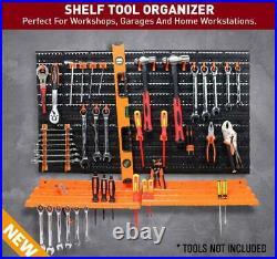 52 Piece Pegboard Shelf Tool Organiser Garage Wall Mount Tool Rack 3-Tier Shelf