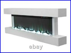 55 Inch Black White Mantel Wall Mounted Electric Fire 3 Sided Glass New 2021