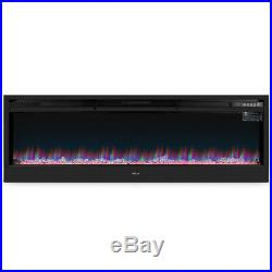 58-Inch Wall Mount Electric Fireplace Heater Black with Flat Tempered Glass