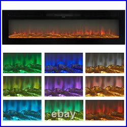 60 Electric Fireplace Recessed&Wall Mounted Heater Multicolor Flame with RC