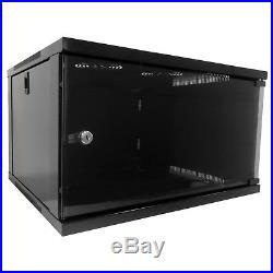 6u 19 450mm Deep Black Floor Standing or Wall Mounted Data Cabinet Comms Rack