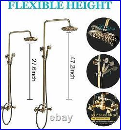 8 Shower Faucet Set Rain Head Combo Hand Shower Tub Filler Mixer Tap Wall Mount
