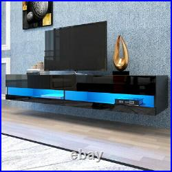 80 Floating TV Stand LED Wall Mounted Console with20 Color Entertainment Center